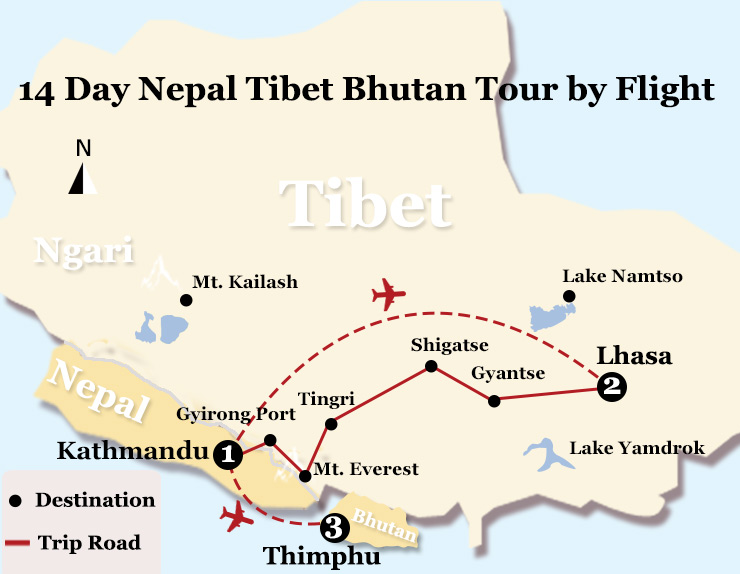 Nepal, Bhutan & Tibet Tour Map