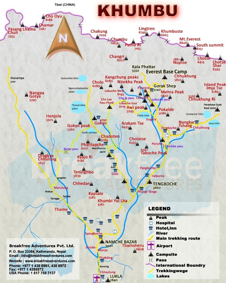 Everest circuit trek – Gokyo Everest base camp via Cho-La pass Map